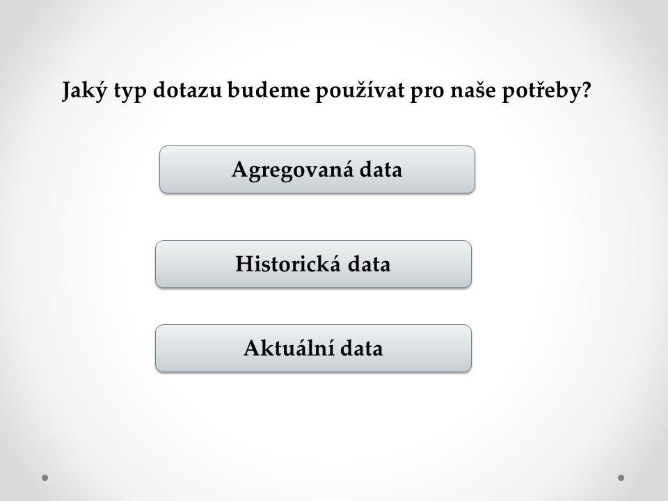 Jaký typ dotazu budeme používat pro naše potřeby Agregovaná data Historická data Aktuální data