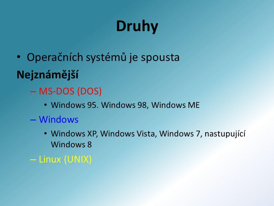 Druhy Operačních systémů je spousta Nejznámější – MS-DOS (DOS) Windows 95. Windows 98, Windows ME – Windows Windows XP, Windows Vista, Windows 7, nast