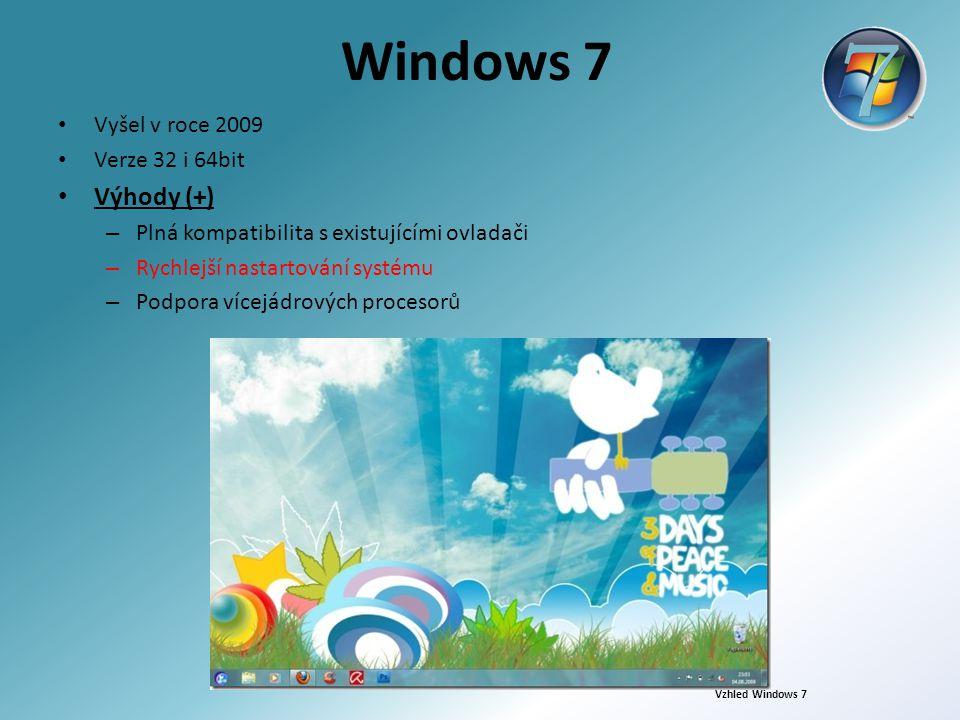 Windows 7 Vyšel v roce 2009 Verze 32 i 64bit Výhody (+) – Plná kompatibilita s existujícími ovladači – Rychlejší nastartování systému – Podpora vícejá