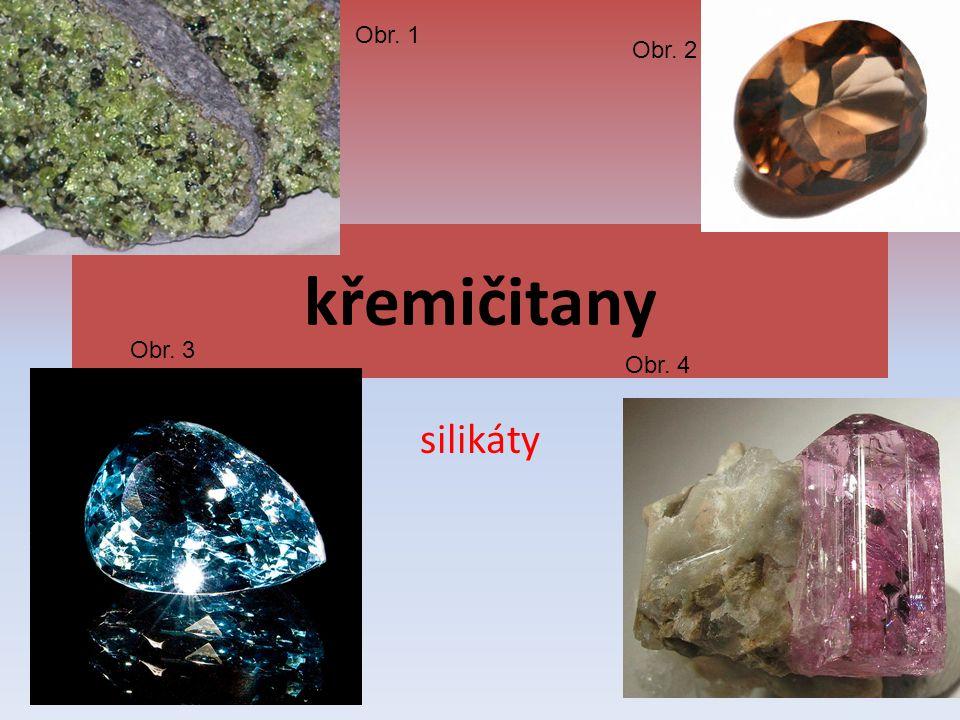 křemičitany silikáty Obr. 1 Obr. 2 Obr. 3 Obr. 4
