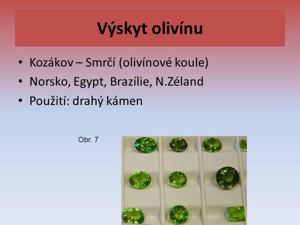 Výskyt olivínu Kozákov – Smrčí (olivínové koule) Norsko, Egypt, Brazílie, N.Zéland Použití: drahý kámen Obr. 7