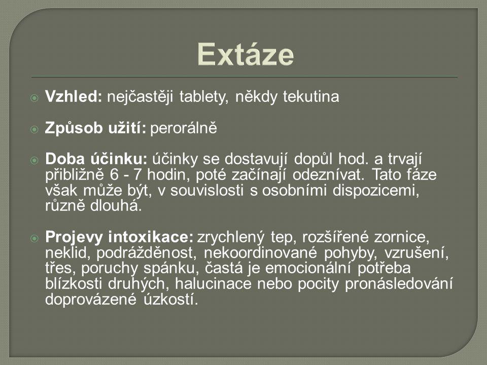 Extáze  Vzhled: nejčastěji tablety, někdy tekutina  Způsob užití: perorálně  Doba účinku: účinky se dostavují dopůl hod. a trvají přibližně 6 - 7 h