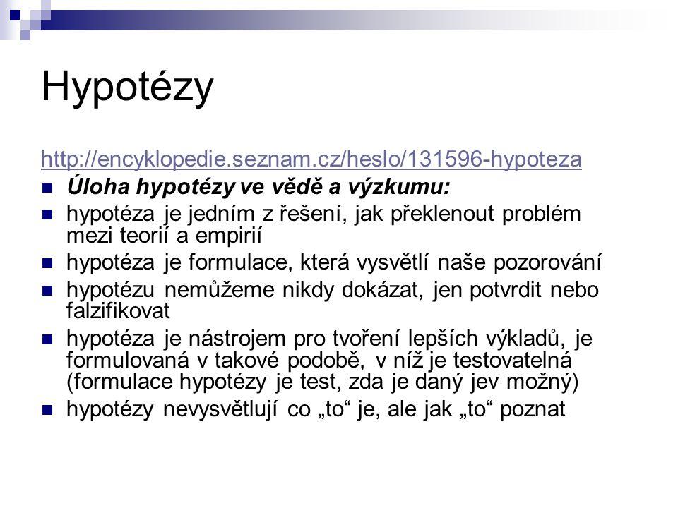 """Hypotézy http://encyklopedie.seznam.cz/heslo/131596-hypoteza Úloha hypotézy ve vědě a výzkumu: hypotéza je jedním z řešení, jak překlenout problém mezi teorií a empirií hypotéza je formulace, která vysvětlí naše pozorování hypotézu nemůžeme nikdy dokázat, jen potvrdit nebo falzifikovat hypotéza je nástrojem pro tvoření lepších výkladů, je formulovaná v takové podobě, v níž je testovatelná (formulace hypotézy je test, zda je daný jev možný) hypotézy nevysvětlují co """"to je, ale jak """"to poznat"""