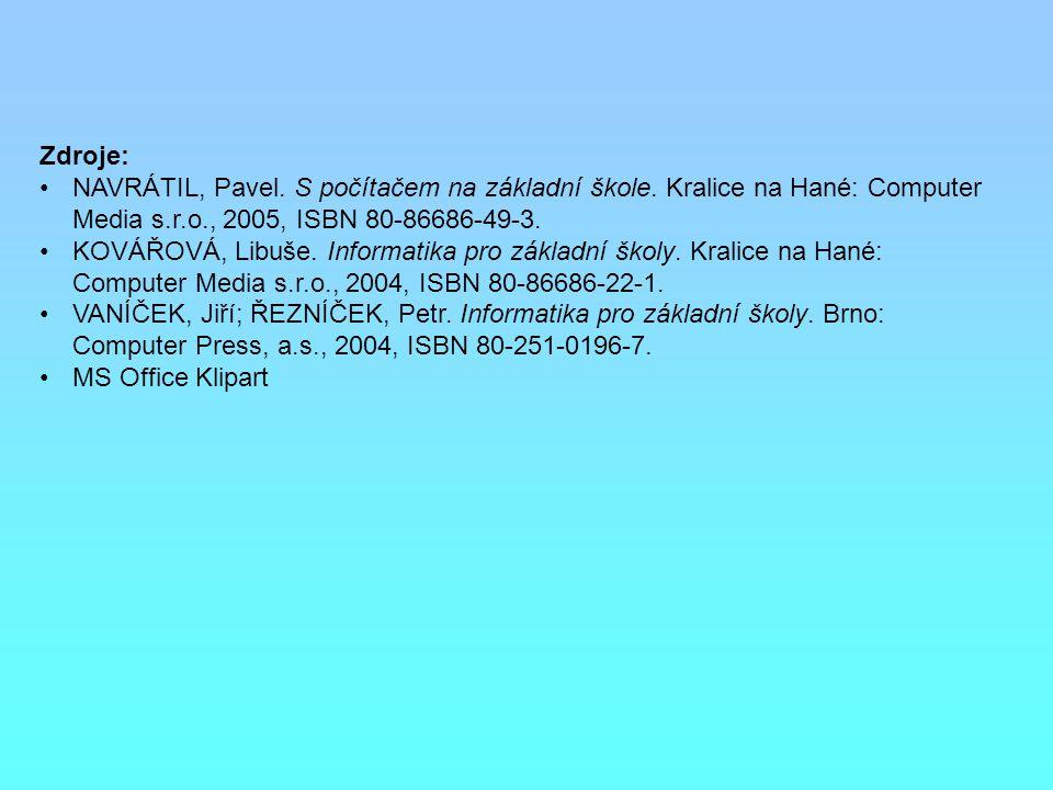 Zdroje: NAVRÁTIL, Pavel. S počítačem na základní škole. Kralice na Hané: Computer Media s.r.o., 2005, ISBN 80-86686-49-3. KOVÁŘOVÁ, Libuše. Informatik