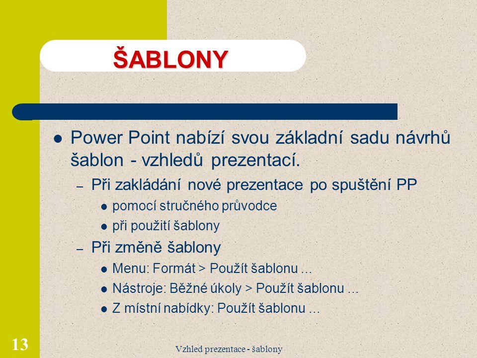 Vzhled prezentace - šablony 13 ŠABLONY Power Point nabízí svou základní sadu návrhů šablon - vzhledů prezentací. – Při zakládání nové prezentace po sp