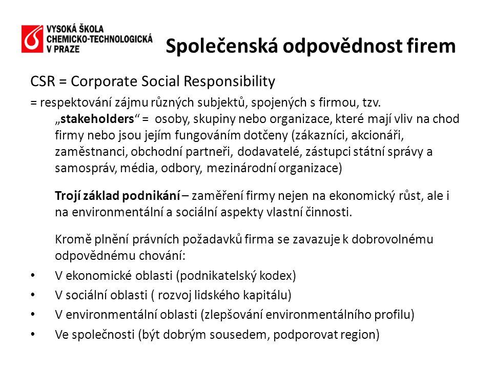 """CSR = Corporate Social Responsibility = respektování zájmu různých subjektů, spojených s firmou, tzv. """"stakeholders"""" = osoby, skupiny nebo organizace,"""