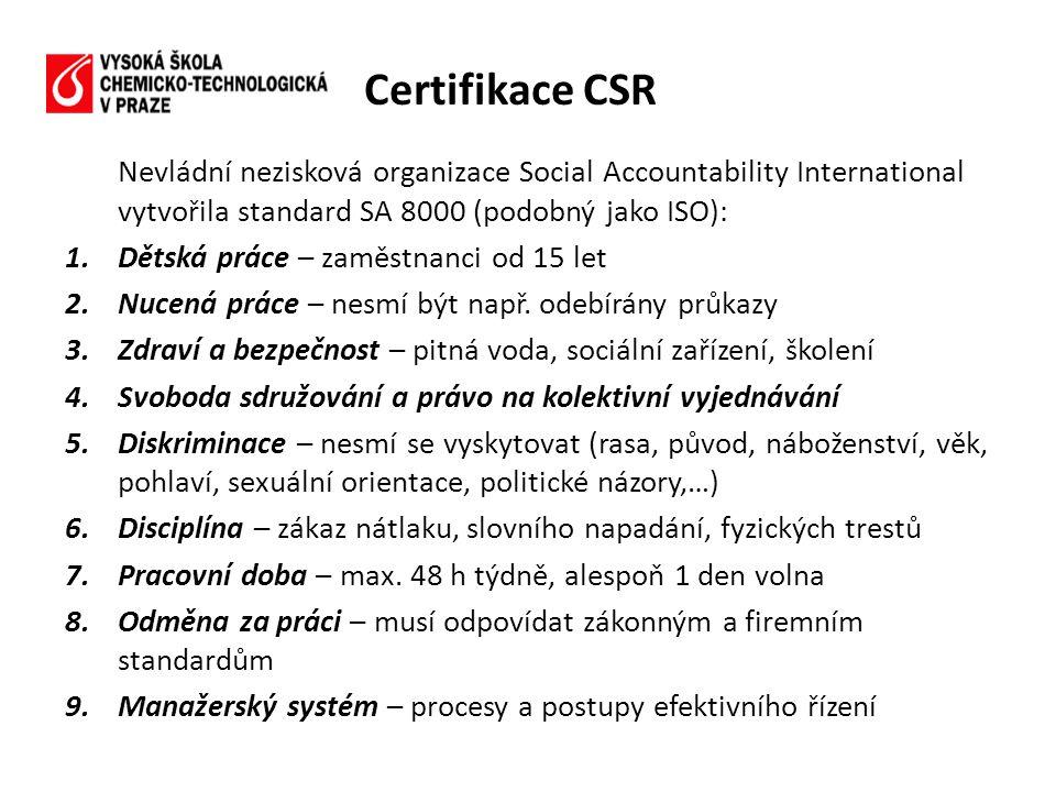 Nevládní nezisková organizace Social Accountability International vytvořila standard SA 8000 (podobný jako ISO): 1.Dětská práce – zaměstnanci od 15 let 2.Nucená práce – nesmí být např.
