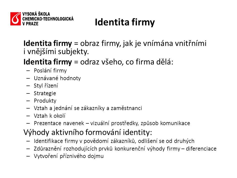 Identita firmy = obraz firmy, jak je vnímána vnitřními i vnějšími subjekty. Identita firmy = odraz všeho, co firma dělá: – Poslání firmy – Uznávané ho