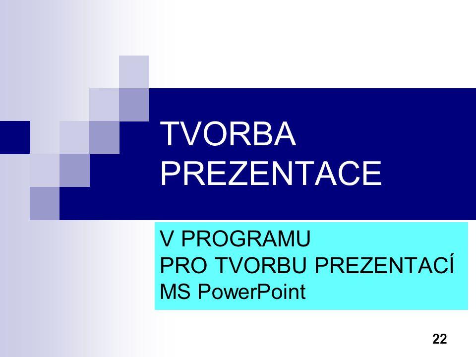 22 TVORBA PREZENTACE V PROGRAMU PRO TVORBU PREZENTACÍ MS PowerPoint