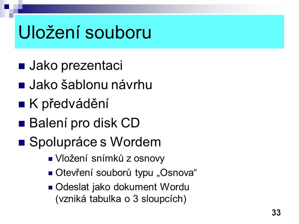 33 Uložení souboru Jako prezentaci Jako šablonu návrhu K předvádění Balení pro disk CD Spolupráce s Wordem Vložení snímků z osnovy Otevření souborů ty
