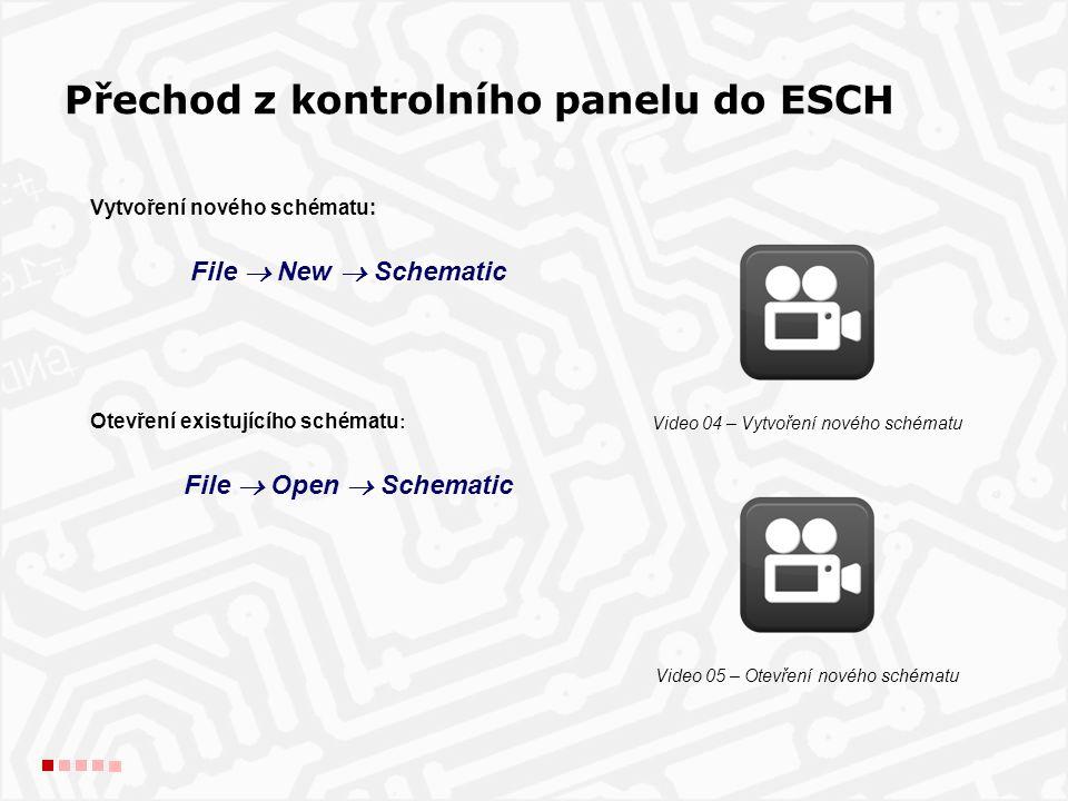 Vytvoření nového schématu: File  New  Schematic Otevření existujícího schématu : File  Open  Schematic Přechod z kontrolního panelu do ESCH Video 04 – Vytvoření nového schématu Video 05 – Otevření nového schématu