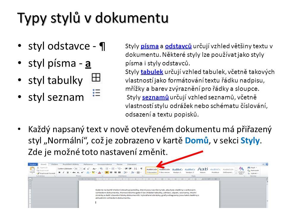 """Typy stylů v dokumentu styl odstavce - ¶ styl písma - a styl tabulky styl seznam Každý napsaný text v nově otevřeném dokumentu má přiřazený styl """"Normální , což je zobrazeno v kartě Domů, v sekci Styly."""