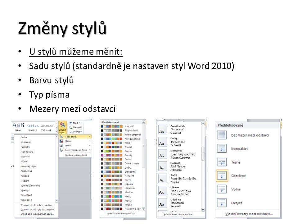 Změny stylů U stylů můžeme měnit: Sadu stylů (standardně je nastaven styl Word 2010) Barvu stylů Typ písma Mezery mezi odstavci