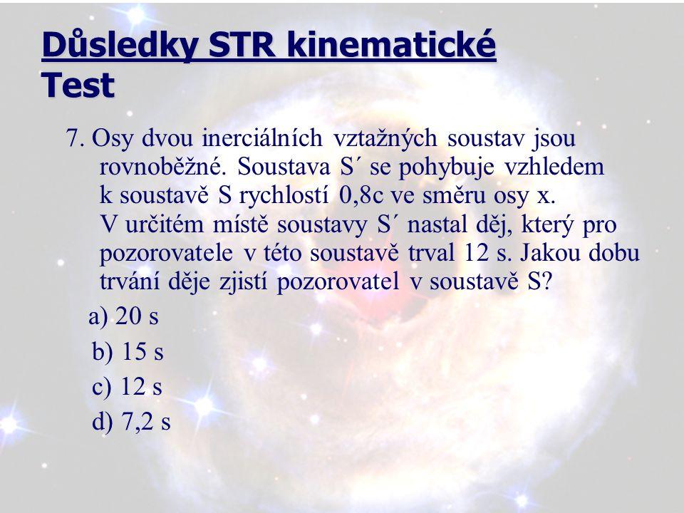 Důsledky STR kinematické Test 7. Osy dvou inerciálních vztažných soustav jsou rovnoběžné.