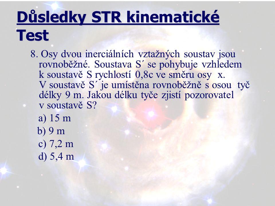 Důsledky STR kinematické Test 8. Osy dvou inerciálních vztažných soustav jsou rovnoběžné.
