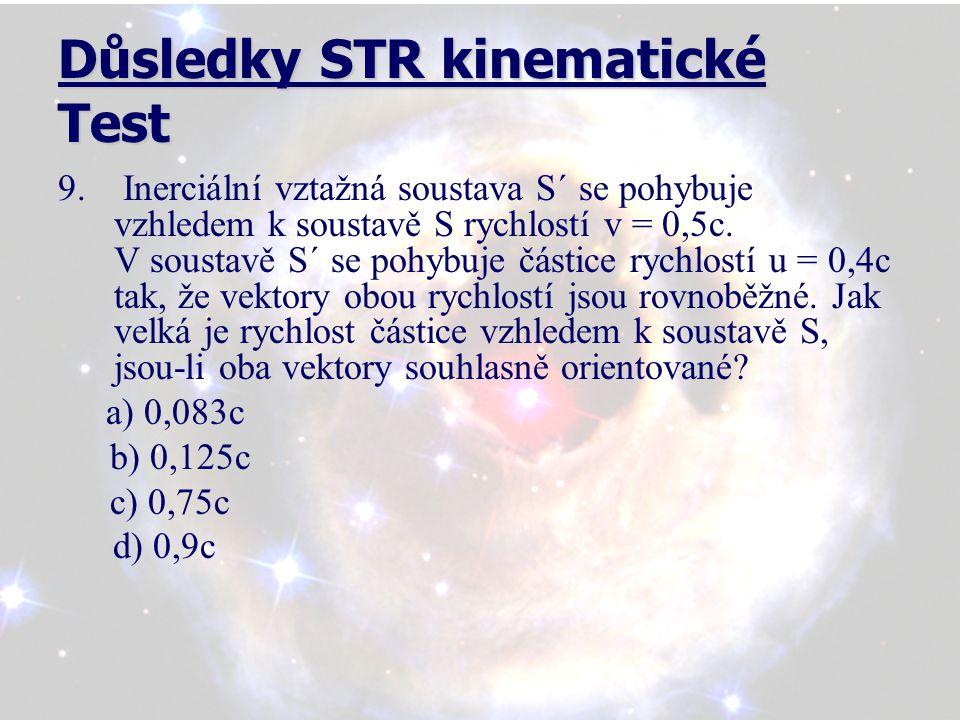Důsledky STR kinematické Test 9.