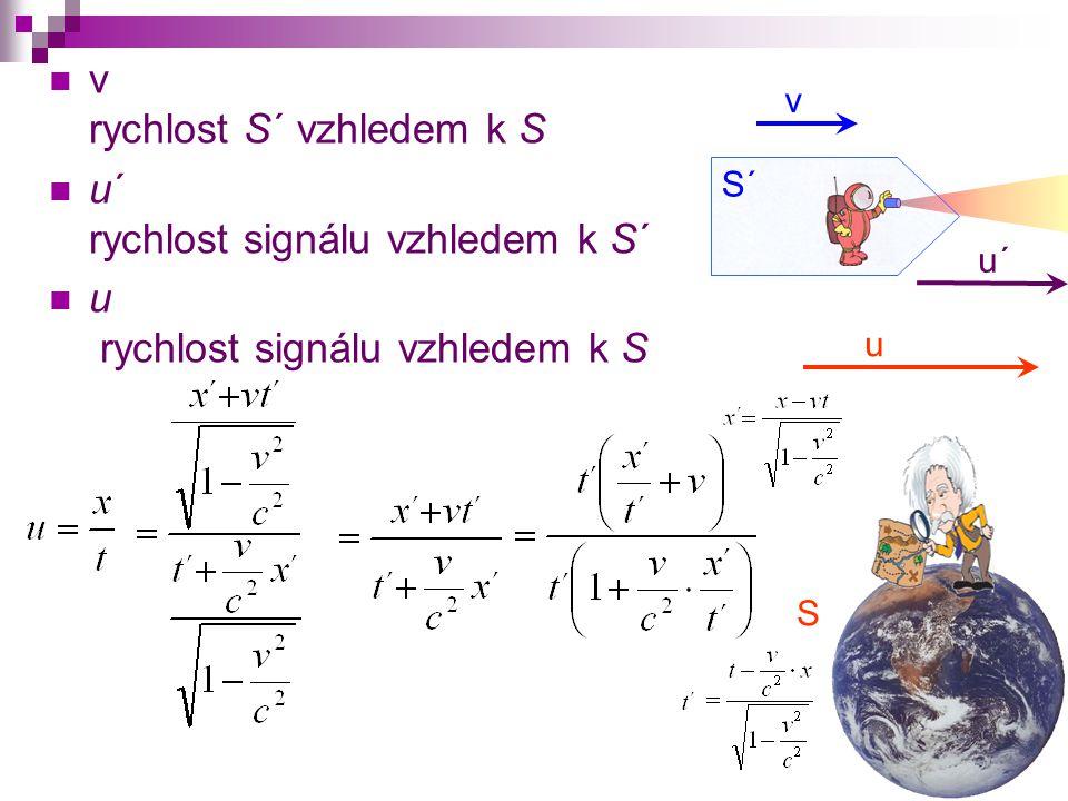 S S´ v u´ v rychlost S´ vzhledem k S u´ rychlost signálu vzhledem k S´ u rychlost signálu vzhledem k S u