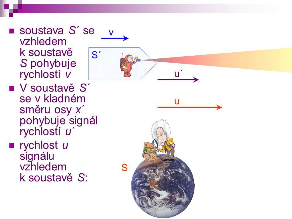S S´ v u´ soustava S´ se vzhledem k soustavě S pohybuje rychlostí v V soustavě S´ se v kladném směru osy x´ pohybuje signál rychlostí u´ rychlost u signálu vzhledem k soustavě S: u