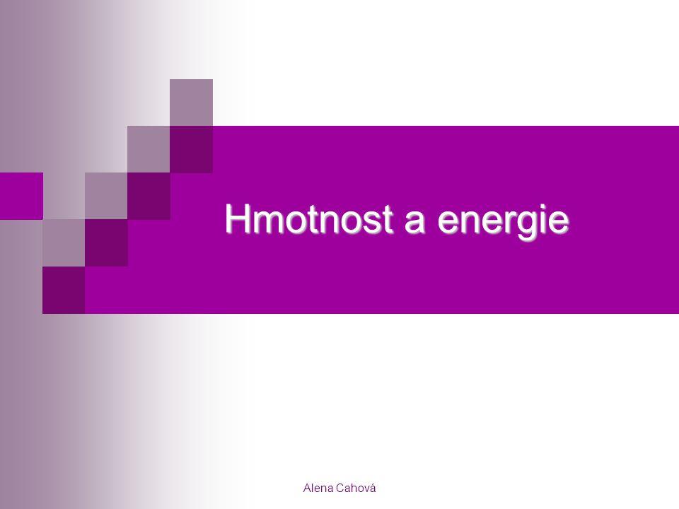 Alena Cahová Hmotnost a energie