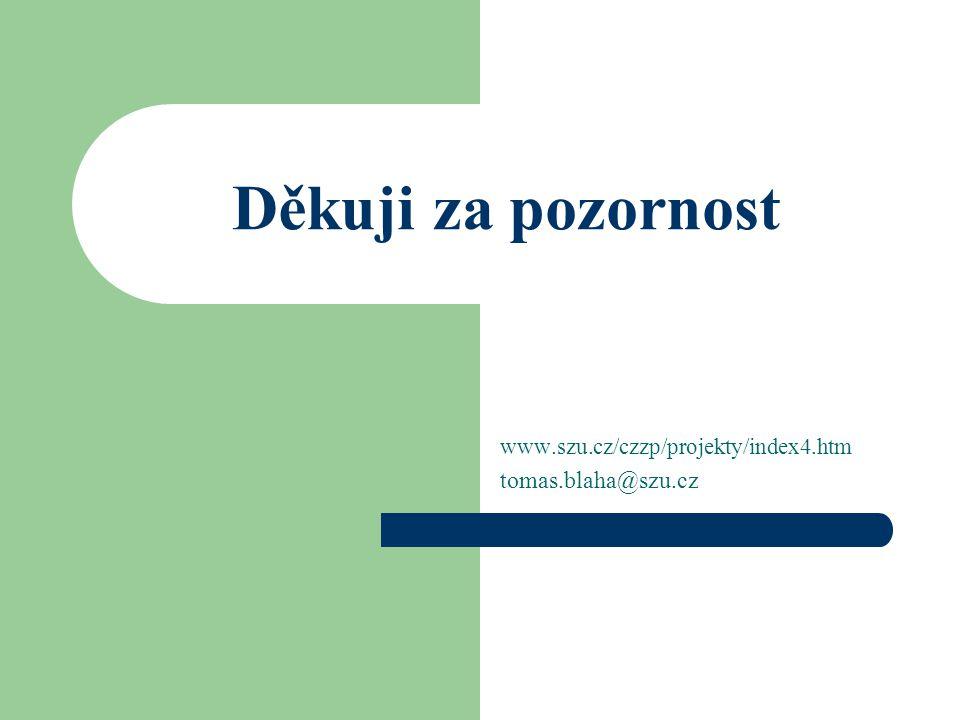 Děkuji za pozornost www.szu.cz/czzp/projekty/index4.htm tomas.blaha@szu.cz