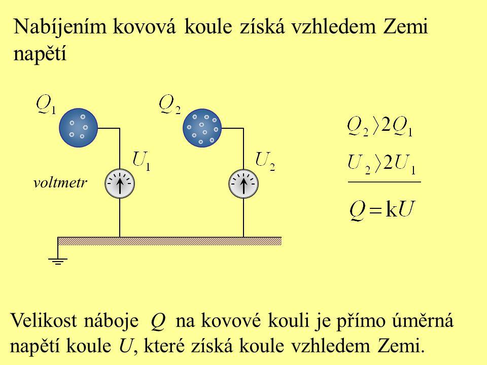 Velikost náboje Q na kovové kouli je přímo úměrná napětí koule U, které získá koule vzhledem Zemi. Nabíjením kovová koule získá vzhledem Zemi napětí v