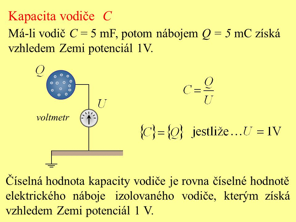 Číselná hodnota kapacity vodiče je rovna číselné hodnotě elektrického náboje izolovaného vodiče, kterým získá vzhledem Zemi potenciál 1 V. Kapacita vo