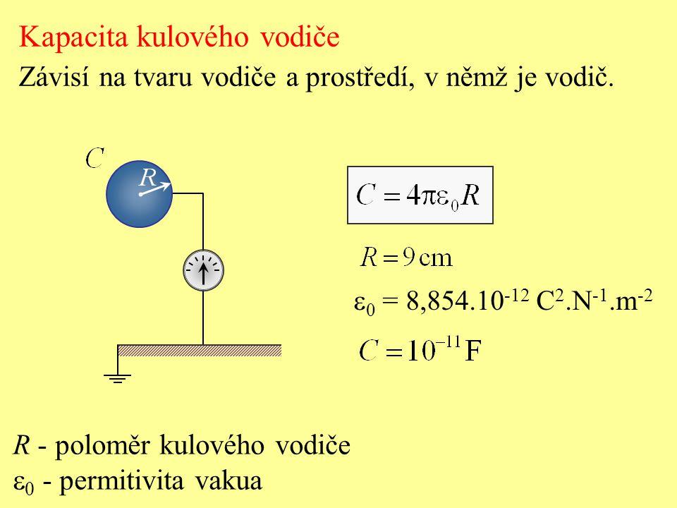 R - poloměr kulového vodiče  0 - permitivita vakua Kapacita kulového vodiče Závisí na tvaru vodiče a prostředí, v němž je vodič.  0 = 8,854.10 -12 C