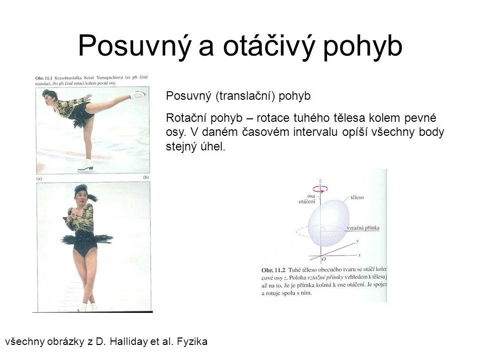 Posuvný a otáčivý pohyb všechny obrázky z D. Halliday et al. Fyzika Posuvný (translační) pohyb Rotační pohyb – rotace tuhého tělesa kolem pevné osy. V
