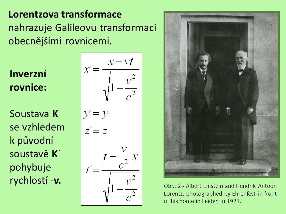 Lorentzova transformace Obr.: 3, 4 bezrozměrná rychlost Lorentzův koefiient