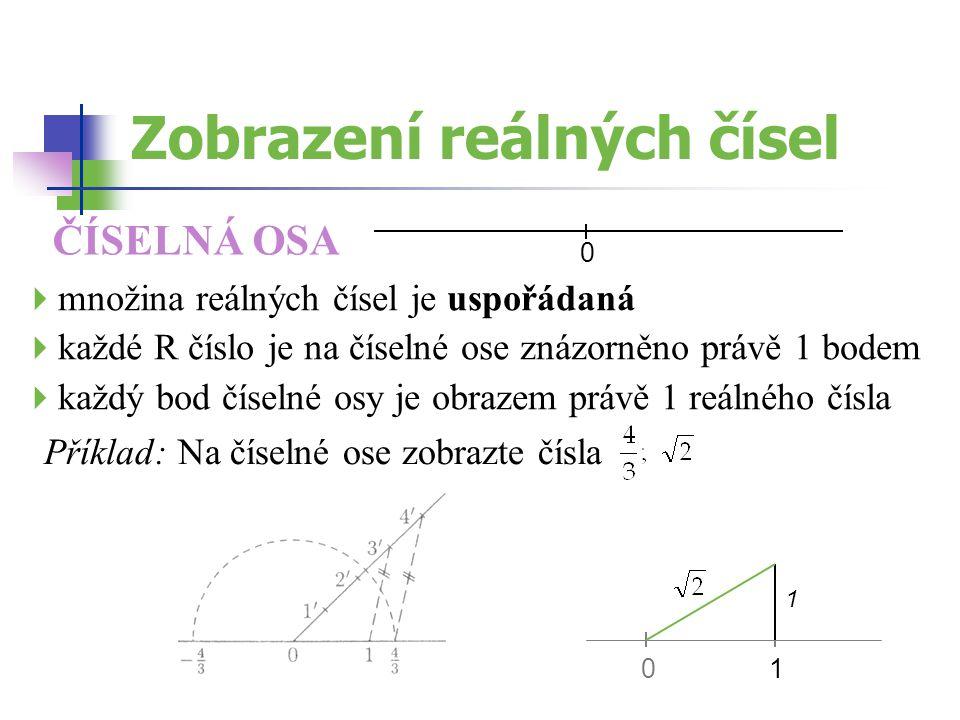 Zobrazení reálných čísel ČÍSELNÁ OSA Příklad: Na číselné ose zobrazte čísla  množina reálných čísel je uspořádaná  každé R číslo je na číselné ose z