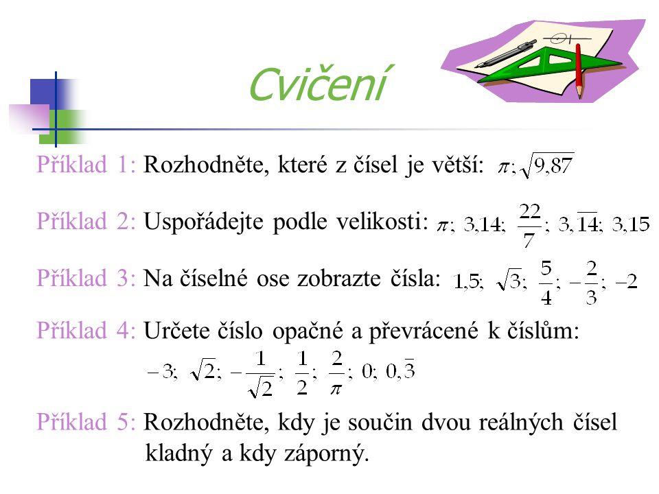 Příklad 1: Rozhodněte, které z čísel je větší: Příklad 2: Uspořádejte podle velikosti: Příklad 5: Rozhodněte, kdy je součin dvou reálných čísel kladný