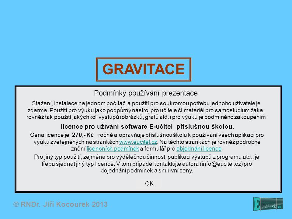 Gravitační pole Fyzikální pole – jistá oblast prostoru; každé místo této oblasti je popsáno hodnotou nějaké fyzikální veličiny (skalární nebo vektorové) Příklad: Chceme popsat oblast v okolí Slunce z hlediska gravitačních sil, které v této oblasti působí na ostatní tělesa – tedy gravitační pole Slunce Pro popis pole proto zavádíme novou veličinu – Intenzita gravitačního pole: m Intenzitu určíme jako podíl gravitační síly působící v daném místě na jisté těleso a jeho hmotnosti.