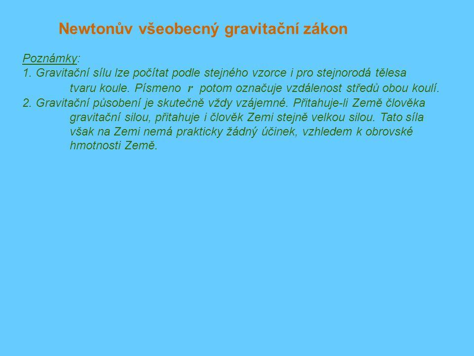 Newtonův všeobecný gravitační zákon Poznámky: 1.