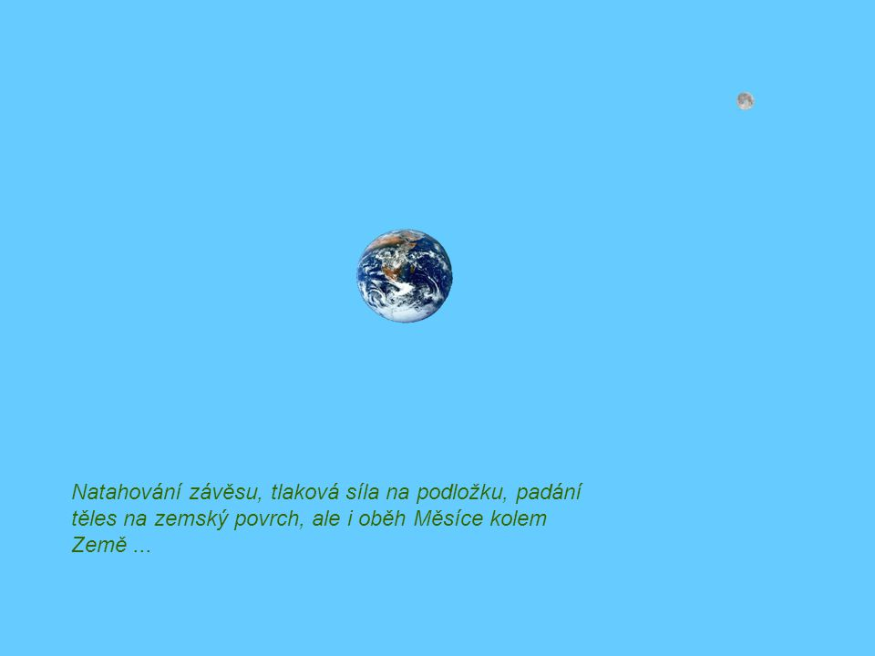 Natahování závěsu, tlaková síla na podložku, padání těles na zemský povrch, ale i oběh Měsíce kolem Země...