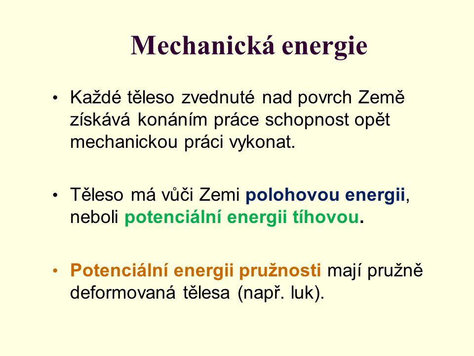 Mechanická energie Každé těleso zvednuté nad povrch Země získává konáním práce schopnost opět mechanickou práci vykonat.