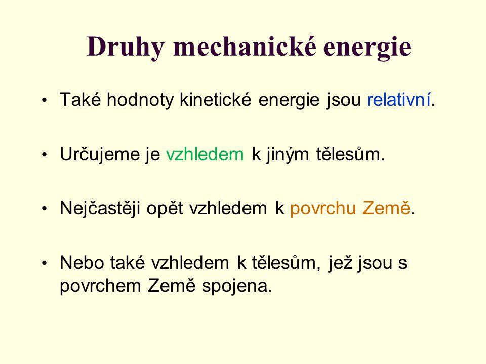 Také hodnoty kinetické energie jsou relativní. Určujeme je vzhledem k jiným tělesům. Nejčastěji opět vzhledem k povrchu Země. Nebo také vzhledem k těl