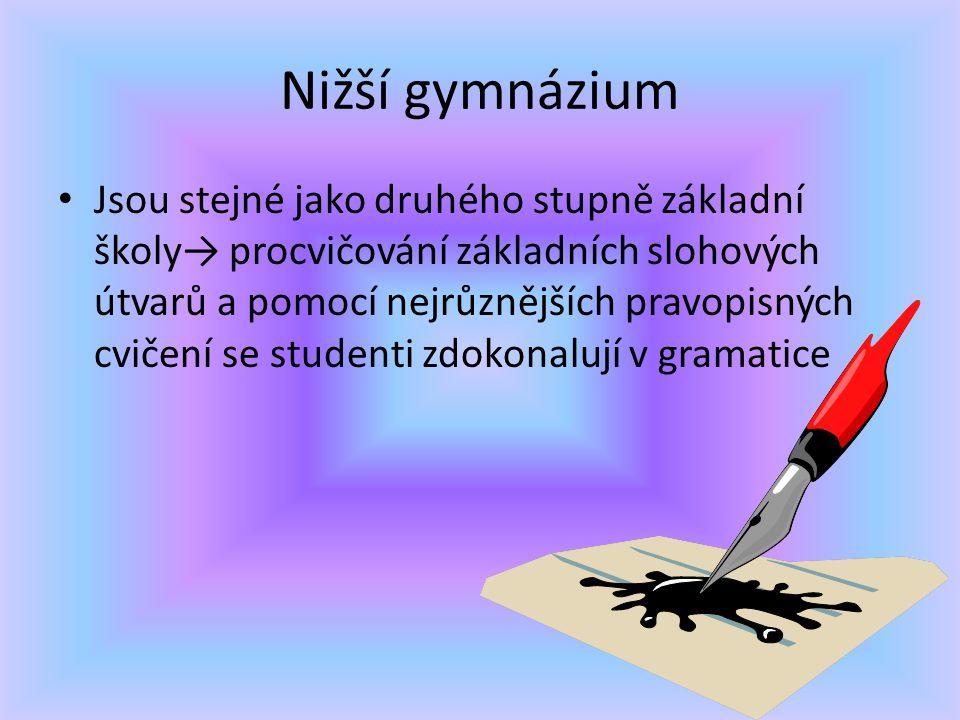 Nižší gymnázium Jsou stejné jako druhého stupně základní školy→ procvičování základních slohových útvarů a pomocí nejrůznějších pravopisných cvičení se studenti zdokonalují v gramatice