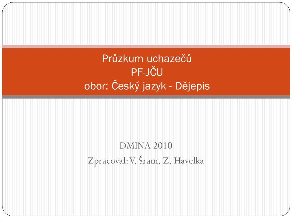DMINA 2010 Zpracoval: V. Šram, Z. Havelka Průzkum uchazečů PF-JČU obor: Český jazyk - Dějepis