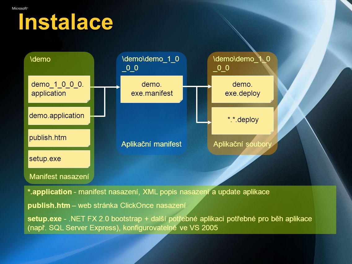 Instalace \demo\demo_1_0 _0_0 demo.exe.manifest Aplikační manifest demo.