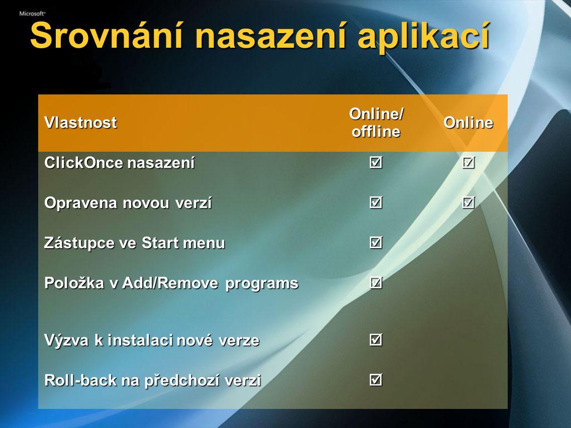 Srovnání nasazení aplikací Vlastnost Online/ offline Online ClickOnce nasazení  Opravena novou verzí  Zástupce ve Start menu  Položka v Add/Remove programs  Výzva k instalaci nové verze  Roll-back na předchozí verzi 