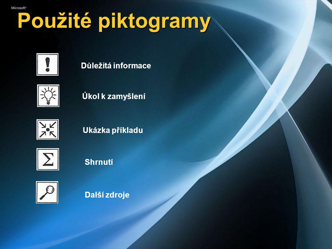 Použité piktogramy Důležitá informace Úkol k zamyšlení Ukázka příkladu Shrnutí Další zdroje