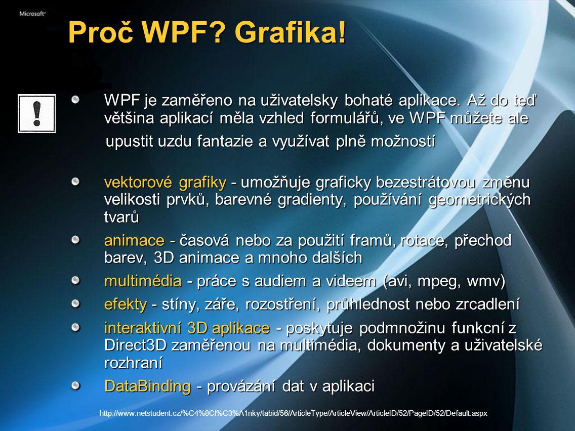 Proč WPF.Grafika. Proč WPF. Grafika. WPF je zaměřeno na uživatelsky bohaté aplikace.