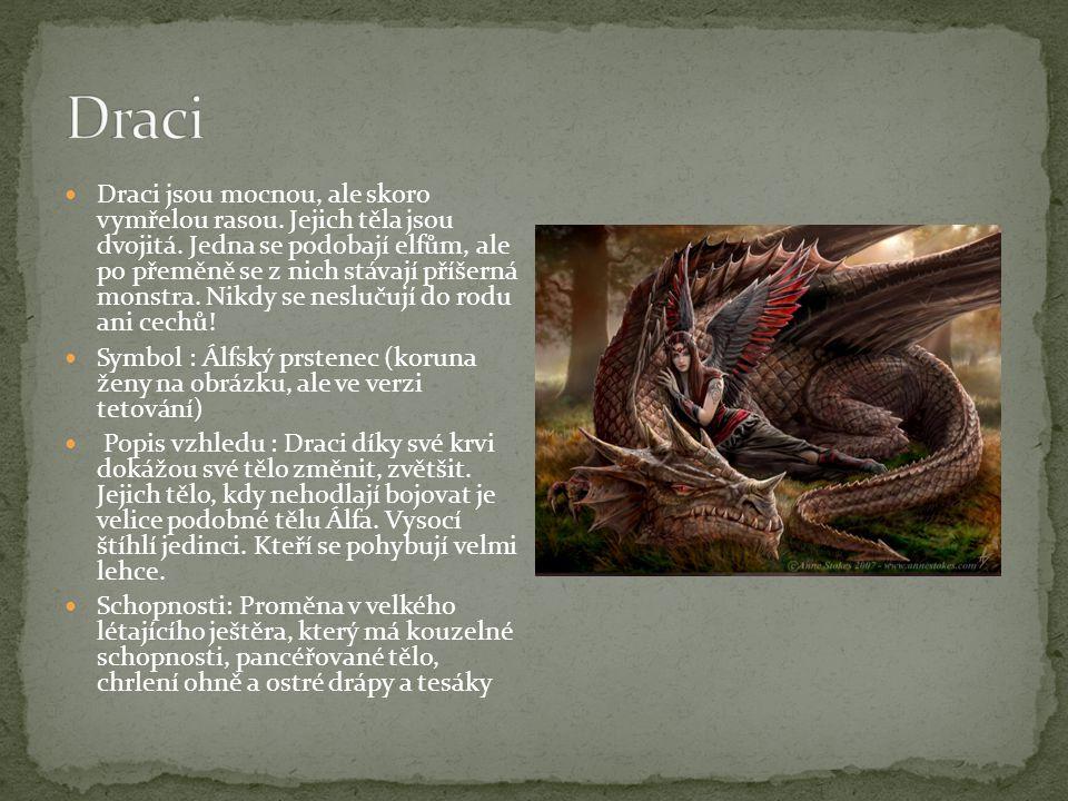Draci jsou mocnou, ale skoro vymřelou rasou. Jejich těla jsou dvojitá. Jedna se podobají elfům, ale po přeměně se z nich stávají příšerná monstra. Nik