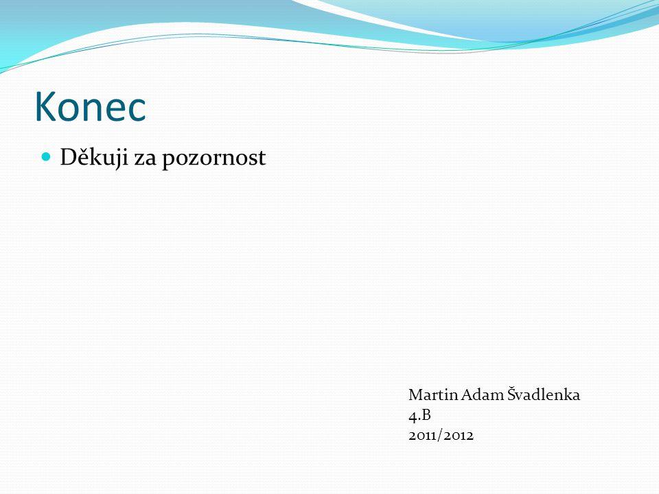 Konec Děkuji za pozornost Martin Adam Švadlenka 4.B 2011/2012