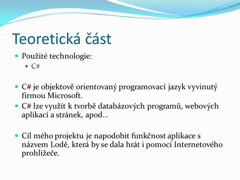 Teoretická část Použité technologie: C# C# je objektově orientovaný programovací jazyk vyvinutý firmou Microsoft.