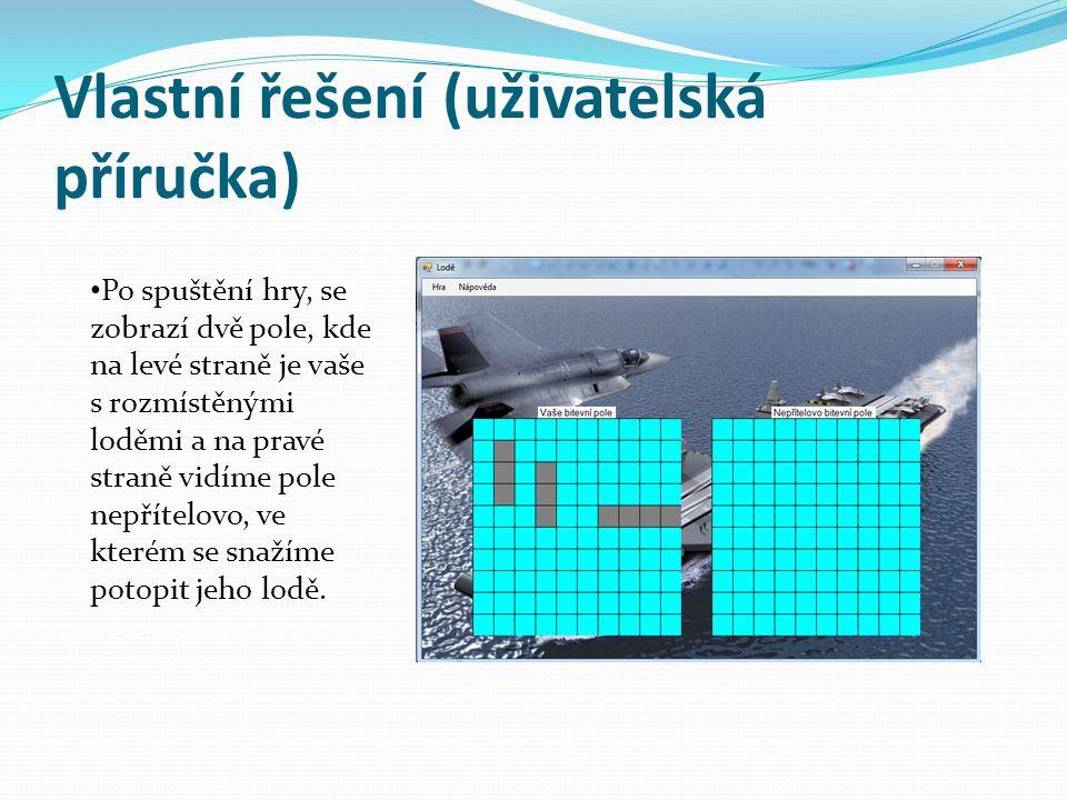 Vlastní řešení (uživatelská příručka) Po spuštění hry, se zobrazí dvě pole, kde na levé straně je vaše s rozmístěnými loděmi a na pravé straně vidíme pole nepřítelovo, ve kterém se snažíme potopit jeho lodě.