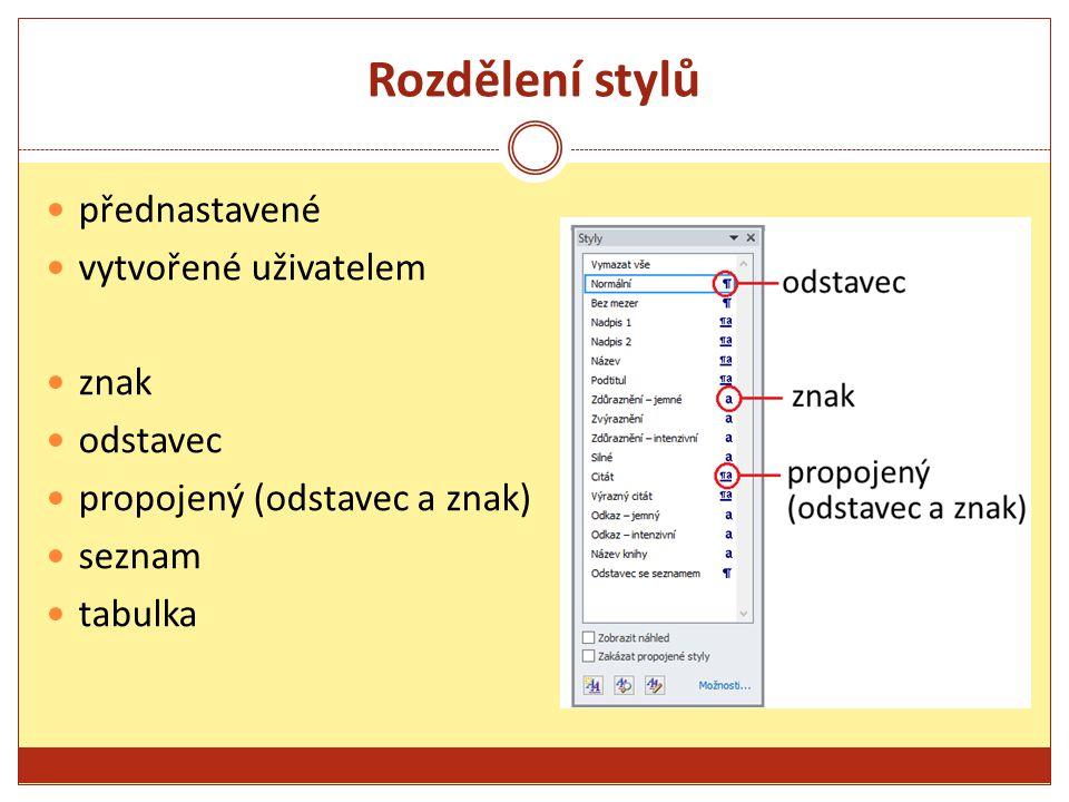 Rozdělení stylů přednastavené vytvořené uživatelem znak odstavec propojený (odstavec a znak) seznam tabulka