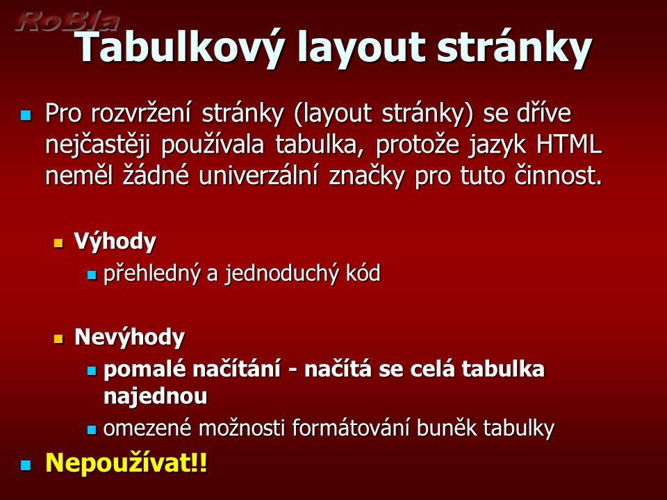Tabulkový layout stránky Pro rozvržení stránky (layout stránky) se dříve nejčastěji používala tabulka, protože jazyk HTML neměl žádné univerzální značky pro tuto činnost.