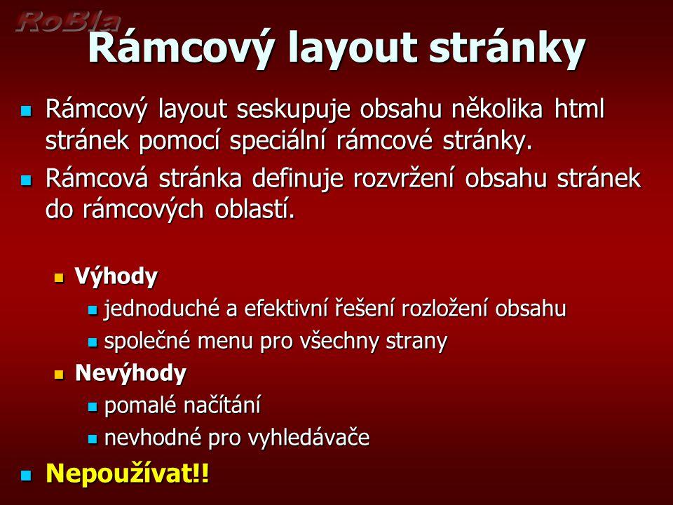 Rámcový layout stránky Rámcový layout seskupuje obsahu několika html stránek pomocí speciální rámcové stránky.