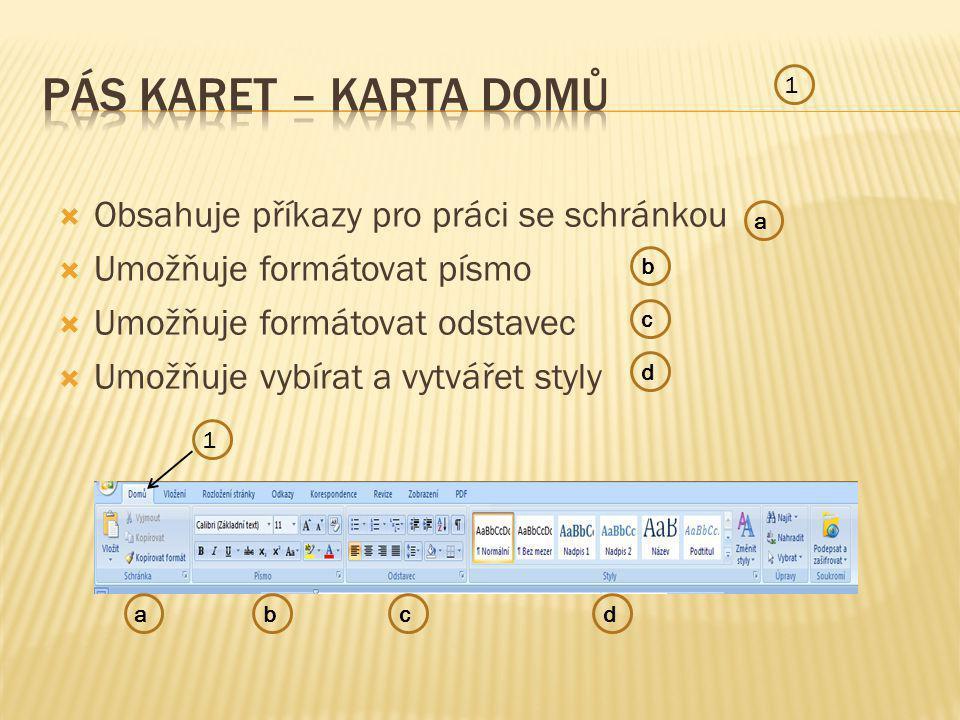  Obsahuje příkazy pro práci se schránkou  Umožňuje formátovat písmo  Umožňuje formátovat odstavec  Umožňuje vybírat a vytvářet styly 1 1 a b c d abcd
